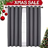 dark grey curtains bedroom NICETOWN Bedroom Blackout Curtains Panels - Window Treatment Thermal Insulated Solid Grommet Blackout for Living Room (Set of 2 Panels, 52 by 63 Inch,Grey)