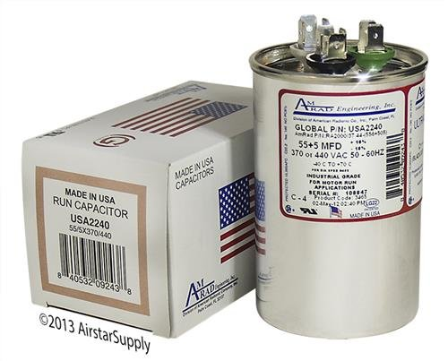 Made in the U.S.A. 440 Volt VAC AmRad Round Dual Run Capacitor 5 uf MFD 370 GE Genteq Z97F9815 97F9815-55