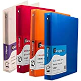 JAM Paper® Designders® - Assorted 1 Inch Width Plastic 3 Ring Binders - Red, Green, Blue & Orange - 4 Binders per Pack