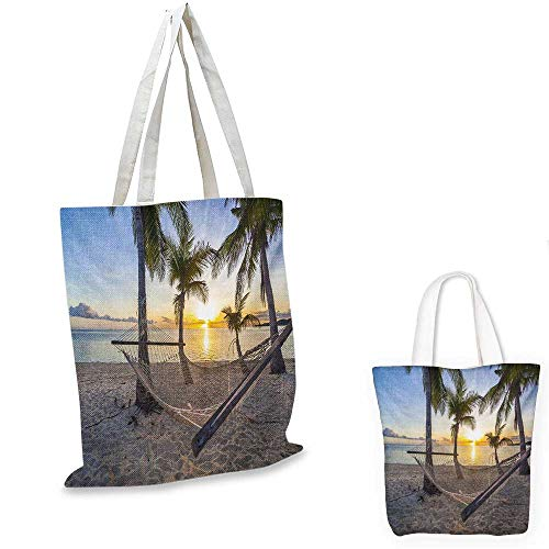 (Tropical canvas messenger bag Paradise Beach with Hammock and Coconut Palm Trees Horizon Coast Vacation Scenery canvas beach bag Multicolor. 12