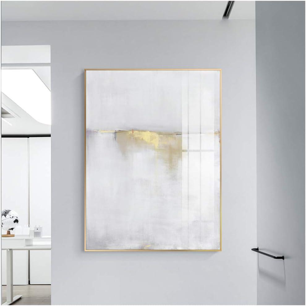 Cuadros de arte de pared Pintura de lienzo blanco abstracto Carteles Impresionespara sala de estar Dormitorio Pasillo Estudio 70x90cm Enmarcado dorado claro