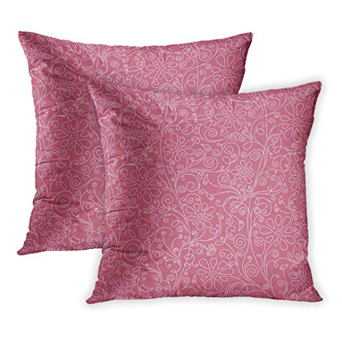 Emvency Throw Pillow Cover Pack of 2, Pink Anniversary Floral Baby Birthday Digital Embellishments Flowers Home Decor Square Size 16 x 16 Inches Cushion Pillowcase -