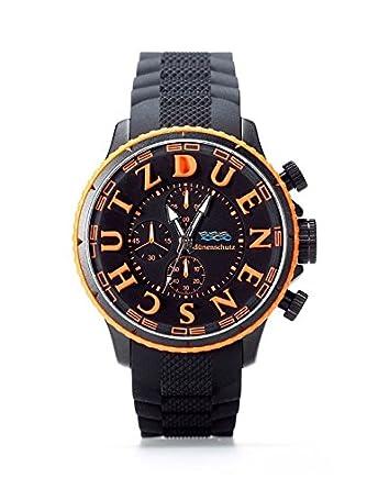 Herren Armbanduhr Schwarz Orange