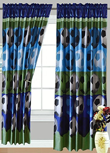 All American Collection 4 Piece Soccer Curtain Set, Matching Comforter and Sheet Available (CURTAIN SET ONLY)