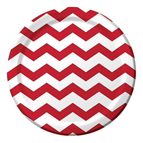 Creative Converting 96-Count Paper Dinner Plates, Chevron Classic Red -