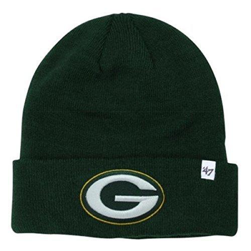 Green Knit Hat Cuffed ('47 Brand Green Bay Packers Green Cuff Beanie Hat - NFL Cuffed Winter Knit Toque Cap)