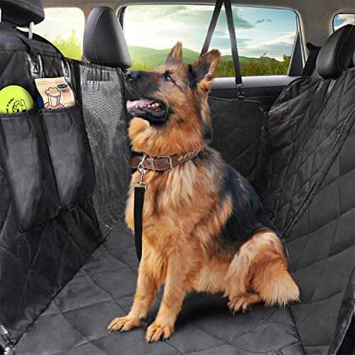 Pet Car Seat Cover, Waterproof Pet Seat Covers with Mesh Window, Nonslip Scratch Proof Dog Car Seat Covers with Side Flaps, Washable Dog Back Seat Cover Hammock for Cars, Trucks & SUV