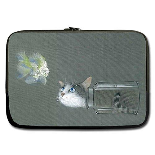 JIUDUIDODO Custom lovely cat Water Resistant Neoprene Computer Bag Sleeve for Laptop 17
