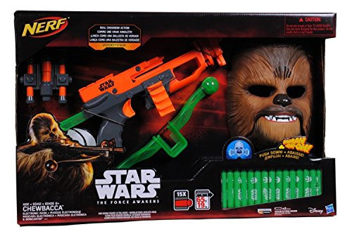 Star Wars Episode VII Chewbacca NERF Bowcaster with 15 Darts & Electronic Mask - Star Wars Toys Nerf