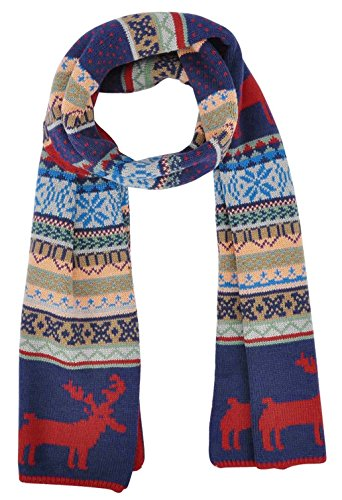 Bohemian Wool Soft Scarf with a Reindeer Pattern Print, Red/Blue