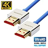 UPTab HDMI 2.0a Slim Cable 6 FT - UHD 4K@60Hz with HDR - Ultra High Speed 18Gbps - Ethernet & Audio Return - Video 4K@60Hz 1080p 3D - Compatible with Xbox X, PlayStation Pro, Apple TV 4K