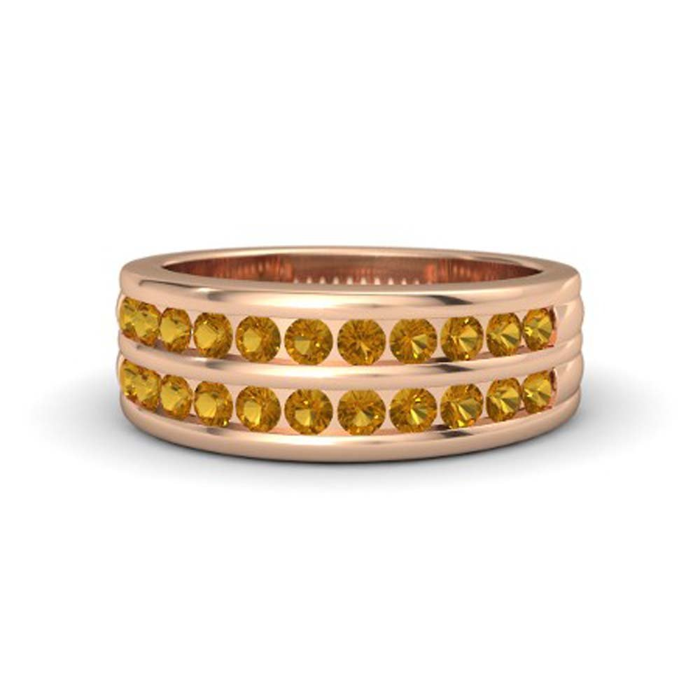 Dabangjewels 14k Rose Gold Plated Round Cut Created citrine Two Row Mens Wedding Band Anniversary Ring