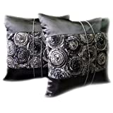 One Pair Two Tone 3d Bouquet of Gray Roses Throw Cushion Cover/pillow Sham Handmade By Satin and Thai Silk for Decorative Sofa, Car and Living Room