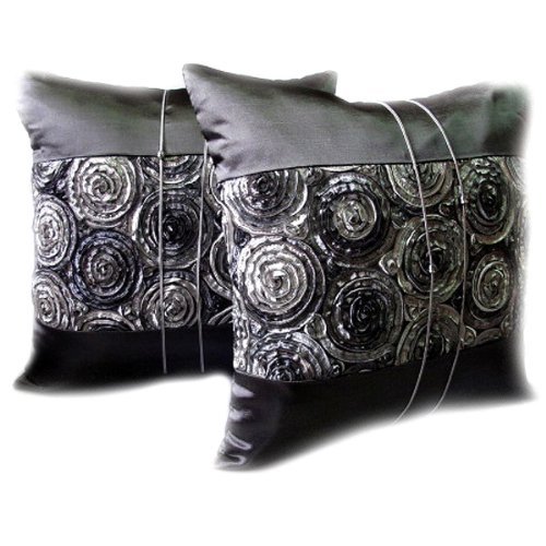 One Pair Two Tone 3d Bouquet of Gray Roses Throw Cushion Cover/pillow Sham Handmade By Satin and Thai Silk for Decorative Sofa, Car and Living Room by Night Bazaar