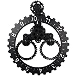 "Sea Team 26"" x 22"" Large Sized Mechanical Style Gear Elements Quartz Movement Wall Clock Decorative Modern Steampunk Big Month/Date/Hour Wheel Clock (Silver) 5"