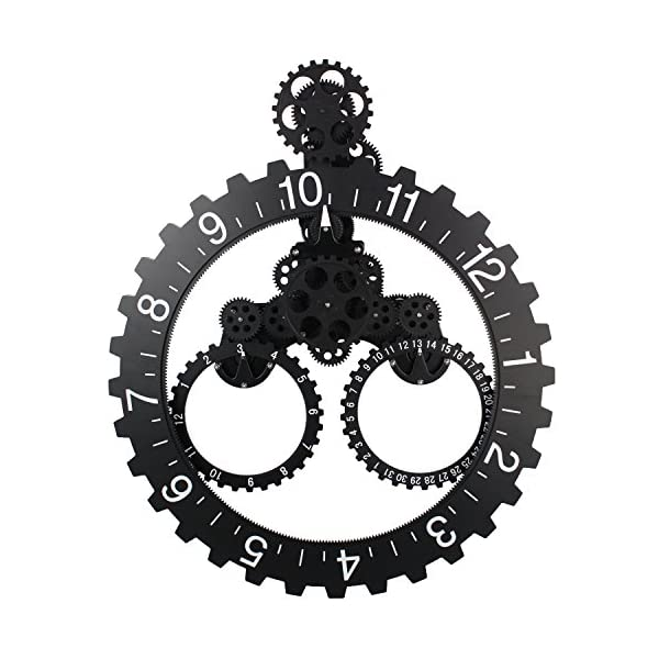 "Sea Team 26"" x 22"" Large Sized Mechanical Style Gear Elements Quartz Movement Wall Clock Decorative Modern Steampunk Big Month/Date/Hour Wheel Clock (Silver) 3"