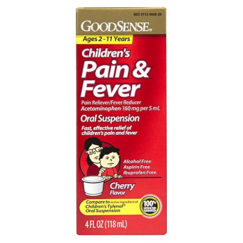 GoodSense Acetaminophen Children's Pain Reliever Oral Suspension Liquid, Cherry Flavor, 160 mg, 4 Fluid Ounce (Suspension Cherry)