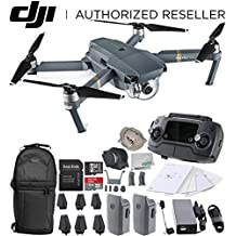 DJI Mavic Pro Collapsible Quadcopter Drone Essentials Backpack Bundle w/ Manufacturer's Accessories + Intelligent Flight Battery + Customizable Bag + 32 GB UHS-I Card + USB-C Cable + Cleaning Cloth