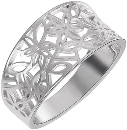 Sterling Silver Victorian Leaf Filigree Vintage Style Ring (Sizes 3-15, Color Options)