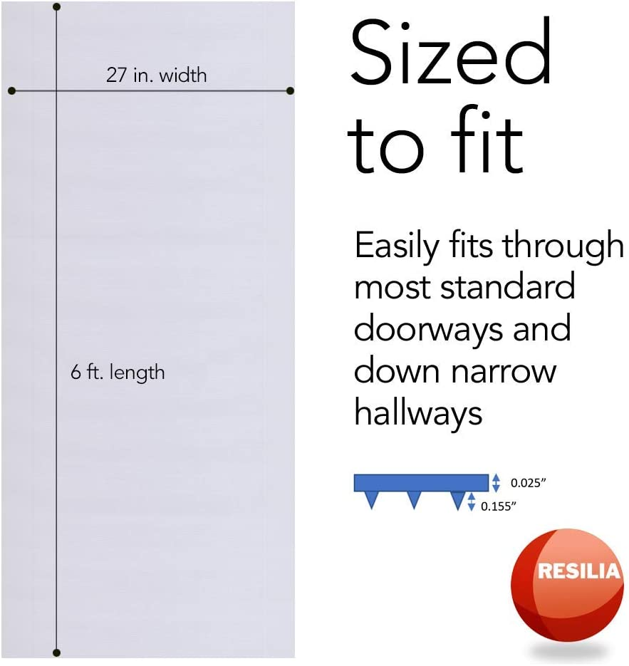Resilia - Clear Vinyl Plastic Floor Runner/Protector for Low Pile Carpet - Skid-Resistant Decorative Pattern, (27 Inches Wide x 6 Feet Long)