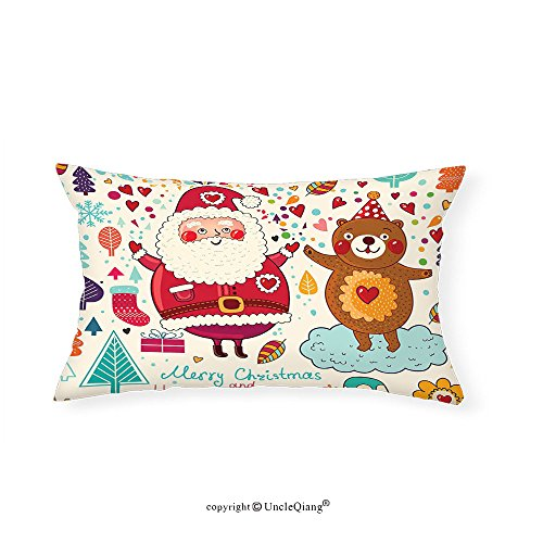 VROSELV Custom pillowcasesChristmas Decorations Collection Merry Santa and Teddy Bear Vintage Christmas Ornaments Party Kids Room Nursery Decor Bedroom Living Room Dorm Multi(12''x24'') by VROSELV