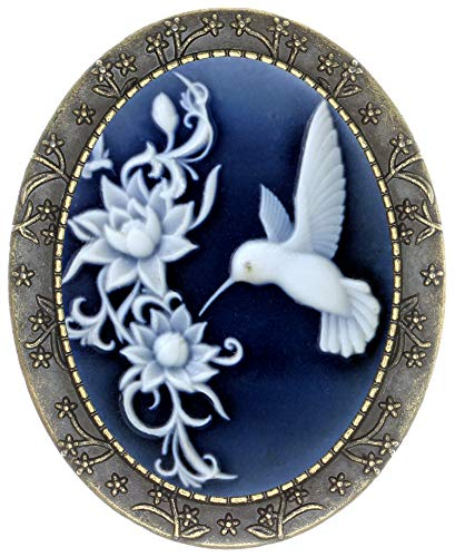 Yspace Floral Pin Brooch Antique Brass Flower Decor Fashion Cameo Jewelry Pouch for Gift (Lotus Hummingbird)