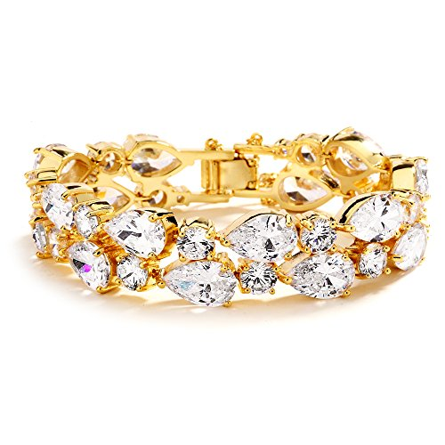 Mariell 14K Gold Petite Length 6 1 2 Wedding Bracelet with Bold CZ Mosaic for Brides and Bridesmaids