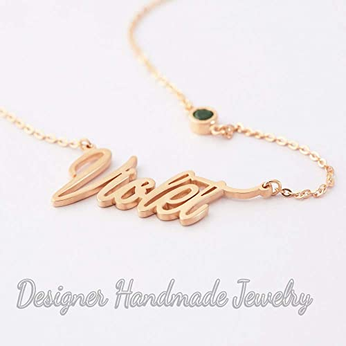 34ccdcb086fbe Amazon.com: birthstone name necklace • gold nameplate necklace ...