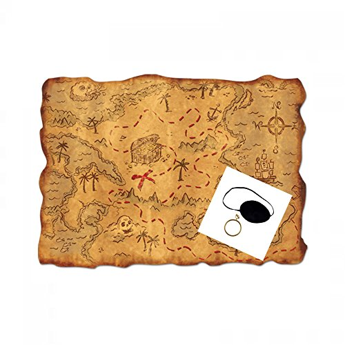 Pirate Eye Patch, Earring and Plastic Treasure Map Costume Accessories -