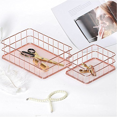 Caveen Metal Wire Mesh Basket Copper Rose Gold Basket For Office Bathroom Bedroom Essential Oil Storage Makeup Brushes Organizer Medium