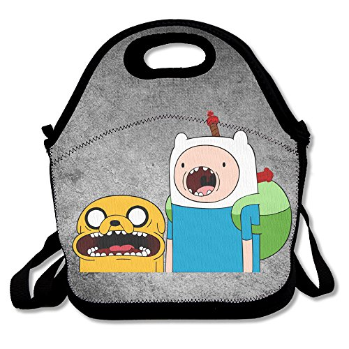 Bakeiy Adventure Time Jake & Finn Lunch Tote Bag Lunch Box Neoprene Tote For Kids And Adults For Travel And Picnic (Adventure Time Finn Adult Costume)