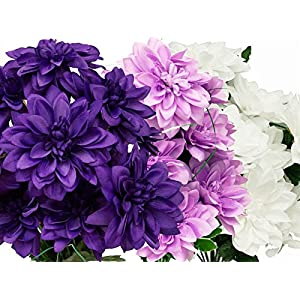 BalsaCircle 56 Silk Dahlia Flowers - 4 Bushes - Artificial Wedding Party Home Centerpieces Arrangements Bouquets Supplies 38