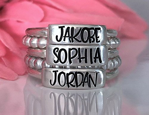 Personalized Sterling Silver Stacking Ring, Custom 3 Kids Name On Ring Mother's Gift Jewelry Stackable-Stacking, Name Rings, Child Name on Ring, 5 Ring Set in Fun Upper Case Margarita Font