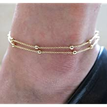 Generic Gold_Double_ Chain _Anklet_ Ankle Bracelet _Barefoot_Beach_ Foot _Sandal_ Jewelry _ZOCA #NUN Bracelet Anklet Foot Gold chain