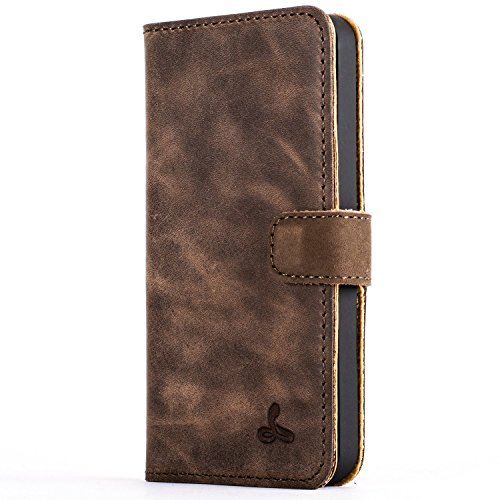 iPhone 5 / 5s / SE Case, Snakehive Vintage Collection Apple iPhone 5 / 5S / SE Wallet Case in Nubuck Leather with Credit Card/Note Slots - (Chestnut Brown)