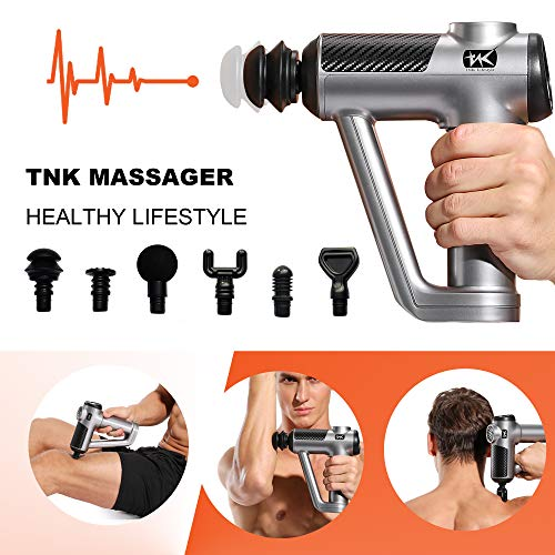 Premium TNK Muscle Massage Gun Deep Tissue Therapy,Electric Handheld Neck and Back Massager, Percussion Massage Gun for Men and Women Pain Relief and Body Recovery 20 Speed Quiet and Strong(Silver,R8)