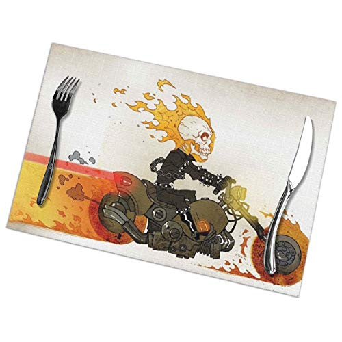 Hongclever Placemat, Washable Place Mats, Ghost Rider Non-Slip Heat Resistant Tablemats Set of 6 for Dining Table (Vinyl Ghost Rider Adult)