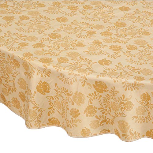 Home Style Kitchen Floral Drop Vinyl Table Cover, Oval, Tan ()
