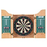 DMI Sports Deluxe Bristle Dartboard Cabinet Set with Electronic Scorer Includes 2 Dart Sets and a Chalk Scoreboard - Light Oak