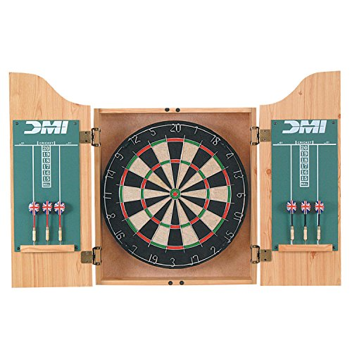 DMI Sports Deluxe Bristle Dartboard Cabinet Set with Electronic Scorer Includes 2 Dart Sets and a Chalk Scoreboard – Light Oak ()