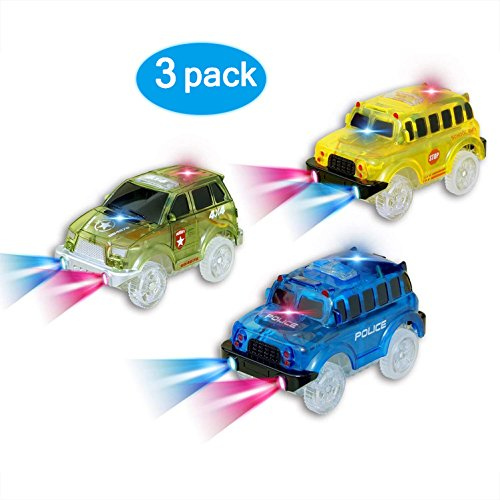 Car Tracks, (3 Pack) Green Military Jeep, Blue Police Bus and Yellow School Bus , with 5 LED Lights, Compatible with Most Tracks,Best Gift for Boys and Girls