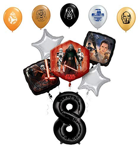 Star Wars 8th Birthday Party Supplies Foil Balloon Bouquet Decorations with 5pc Star Wars 11