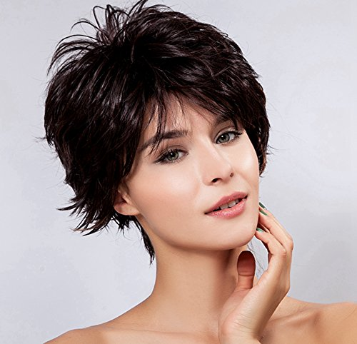 Diy-Wig Women's Cute Short Curly Fluffy Hair Wigs Red Highlights in Dark Brown New Heat-Resistance Full Hair Wigs (Short Curly Red Wigs For Women)