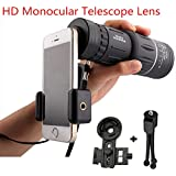 XiuFen 16x52 High Power HD Monocular Telescope Lens Dual Focus Prism Scope with Night Vision \u2013Includes Universal Smartphone Mount and Tripod Waterproof Fog Proof Compact 16X Zoom for All Outdoors