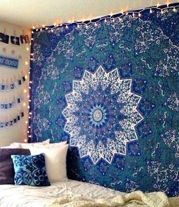 - Large Indian Mandala Tapestry Hippie Tapestry Wall Hanging Throw Bedspread Dorm Tapestry Kaleidoscopic Star Tapestry Wall Hanging Picnic Beach Sheet Coverlet