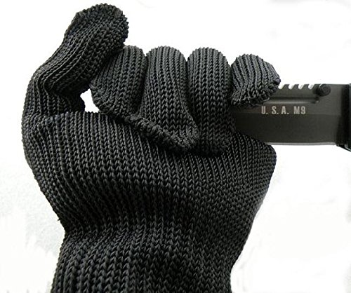 Stainless Steel Wire Anti-Cut Cut Resistant Gloves (Black) - 9