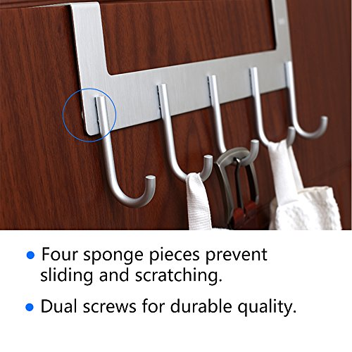 Over The Door Hook Hanger,Rongyuxuan Heavy Duty Organizer for Coat Clothes Towel Bag Robe -5 Hooks,Wall Mount Tool Holder for Home Storage Organizer,Aluminum,White (Round Hook 2 Pack, Silver) by Rongyuxuan (Image #3)