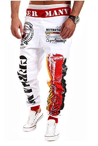 MO GOOD Men's Casual Letter Pattern Printing Sport Baggy Jogger Long Pant (XL, (Stylish Cotton Blends Letter)