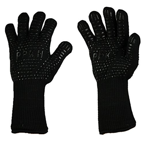 PPKH Extreme Heat Resistant Grill Gloves: Premium Insulated & Silicone Lined Aramid Fiber Mitts for Cooking, BBQ, Grilling, Frying & Baking - Professional Indoor Outdoor Kitchen & Oven Accessories By by PPKH