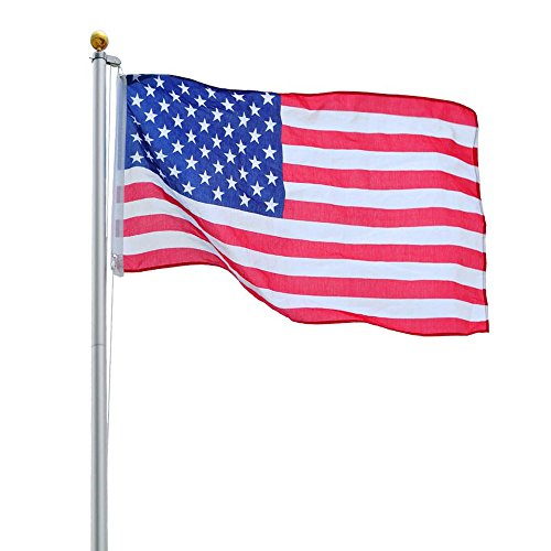 Fly 2 US Flags 20FT Aluminum Telescoping American Flagpole w/ Gold Ball Finial (Wings Juniors Tattoo T-shirt)